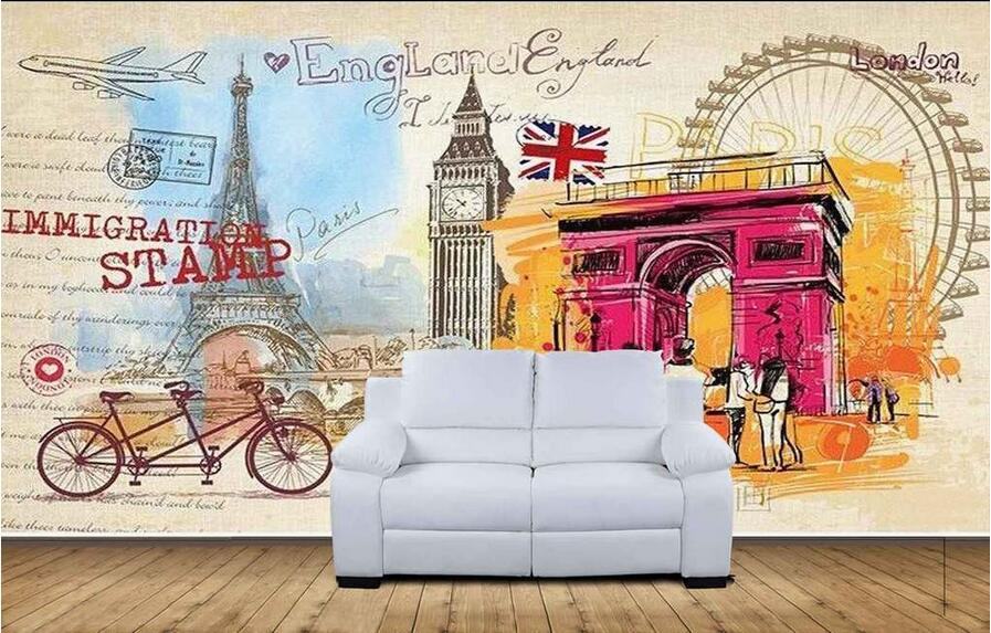3d room wallpaper custom mural non-woven wall sticker 3 d Paris London modern graffiti painting photo 3d wall murals wallpaper 3d wallpaper custom mural non woven cartoon animals at 3 d mural children room wall stickers photo 3d wall mural wall paper