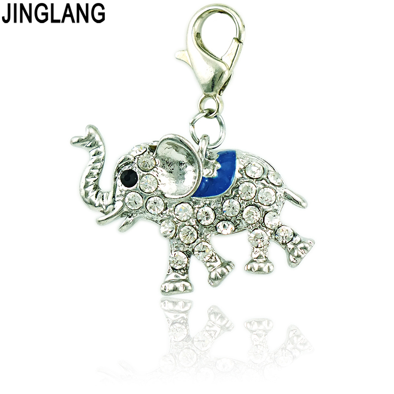 JINGLANG Large Wholesale Rhinestone Enamel Animal 3D Elephants Charms With Lobster Clasp DIY For Jewelry Making
