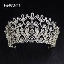 New Gold Silver Color luxury Big Crystal Tiaras Ctrstal Rhinestone Pageant Crowns Baroque Wedding Hair Accessories HG-036
