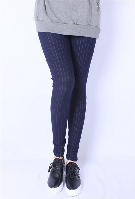 Euro 2016 Elasticity plus size XL-5XL add wool women leggings impire high quality Autumn winter print striped pencil pants F47