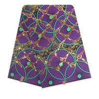Purple Wax Prints Fabric Sequins Wax Hollandais Wax Fabric African Print Fabric Nigerian African Ankara Fabric 6yards/pcs F95 1