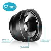Neewer 52MM 2 2X Professional Telephoto Lens With Microfiber Cleaning Cloth For Nikon And Other Digital