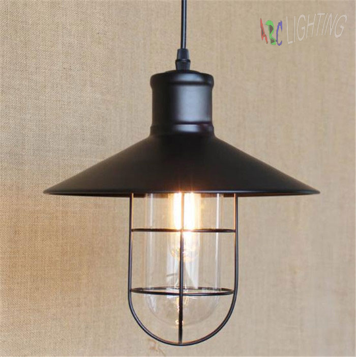 Vintage Iron Pendant Light  Industrial Lighting Glass Guard Design Cage Pendant Lamp Hanging Lights E27 Bar Cafe Restaurant