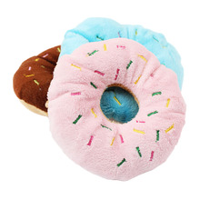 1pc 11CM Pet Dog Chew Throw Toys Cute Donuts Puppy Cat Squeaker Squeaky Plush Sound Toys Color Random