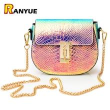 Láser PU Pequeño Mini Flap Bag Mujeres Messenger Bags Bolsa de Serpentina Cadena de Lujo de Las Mujeres Bolsos Crossbody Diseñador Bolsas Sac
