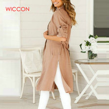 Women Long Coat Female Casual Trench Coat Long Sleeve British Style Overcoat Wom