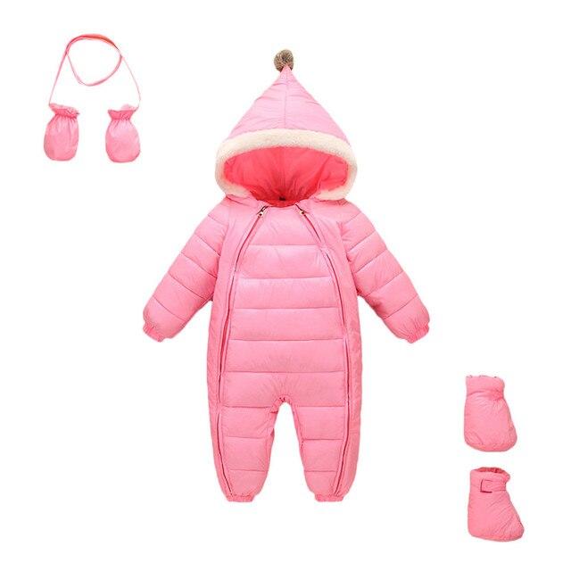 5712cd93c99e 3pcs winter rompers Baby Girls Boys Kids Hooded Romper+Gloves+Socks ...
