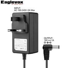 18V 1A Power Adapter Negative Center 100-240V Converter Noiseless Technology UK Plug G Type for Guitar Effect Pedal Power Supply