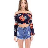 Young17 Women Casual Blouse 2018 Spring Fall Floral Slim Flare Sleeve Slash Neck Sexy Vacation Beach