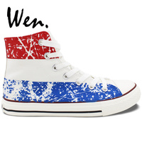 Wen Men Women's Hand Painted Shoes Design Custom Netherlands Flag High Top Canvas Sneakers Christmas Birthday Gifts