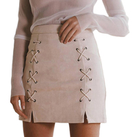 Vintage Suede Skirts Womens Sexy Lace Up Mini Skirt Fashion Rivet Zip Cut Out Black Green