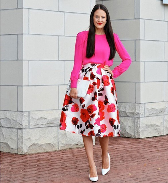High Waisted Long Floral Skirt - Dress Ala
