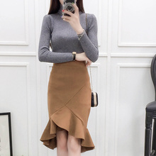 women set clothing spring autumn winter 2017 cloth falbala skirts fishtail package hip skirt turtleneck sweater female A2453