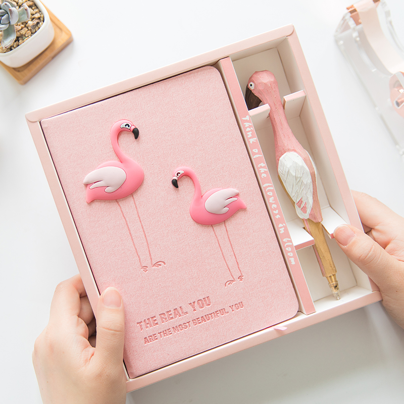 1 Set Fresh Flamingo Notebook Set Blank Inside Page Student Notepad A5/A6 Journal Planner 2018 New Stationery School Supplies dolce