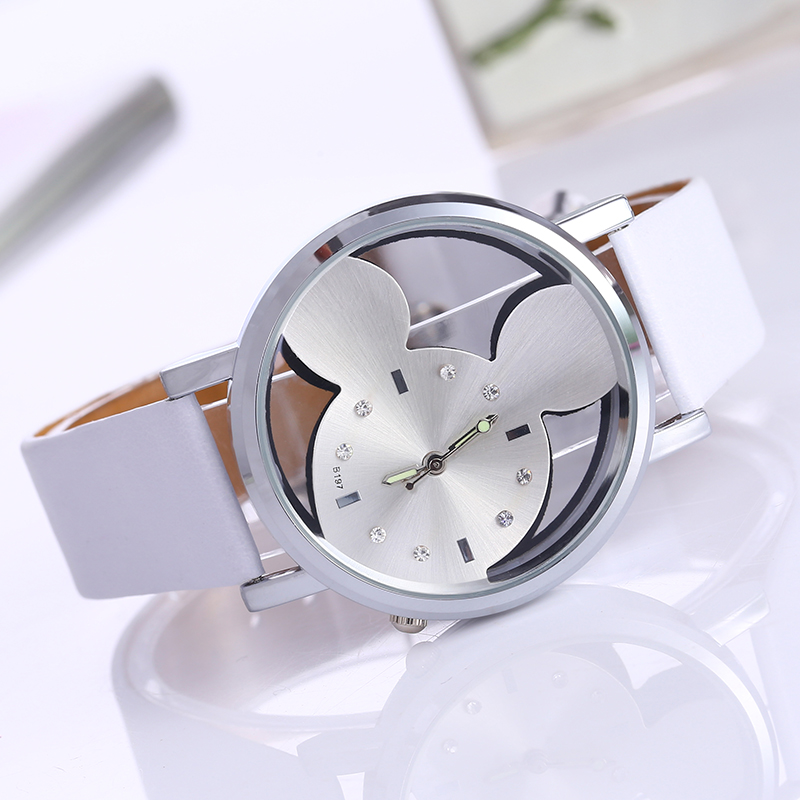 Relojes Mujer Classic New Fashion casual watches women Dress quartz watch Mickey hollow dial leather wristwatch relogio feminino new geneva ladies fashion watches women dress crystal watch quarzt relojes mujer pu leather casual watch relogio feminino gift