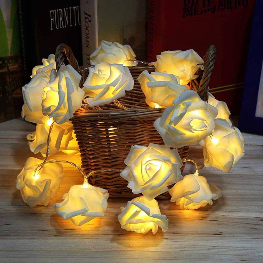 10led 20led Battery Operated Rose Flower Led String Lights Rose Blossom Lamps For Party Holiday Wedding Christmas Decoration