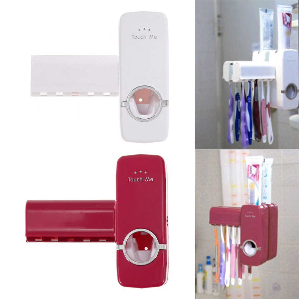 Automatic Toothpaste Soap Dispenser 5 Toothbrush Holder Set Wall Mount Stand Toothbrush Family Red White for Kitchen Bathroom все цены