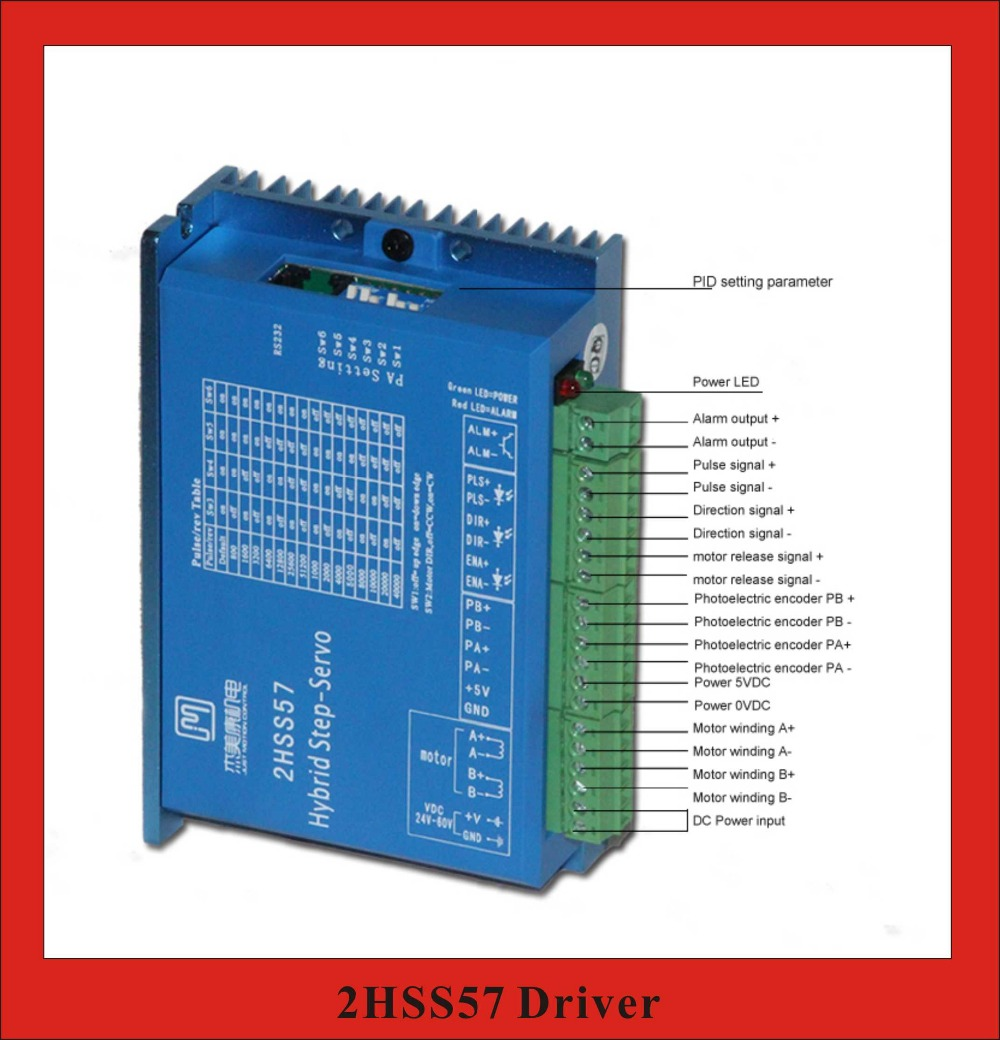 2 Phase Closed Loop Stepper Servo Motor Driver 24~50VDC for NEMA23 2 phase 8 5n m closed loop stepper servo motor driver kit 86j18118ec 1000 2hss86h cnc machine motor driver