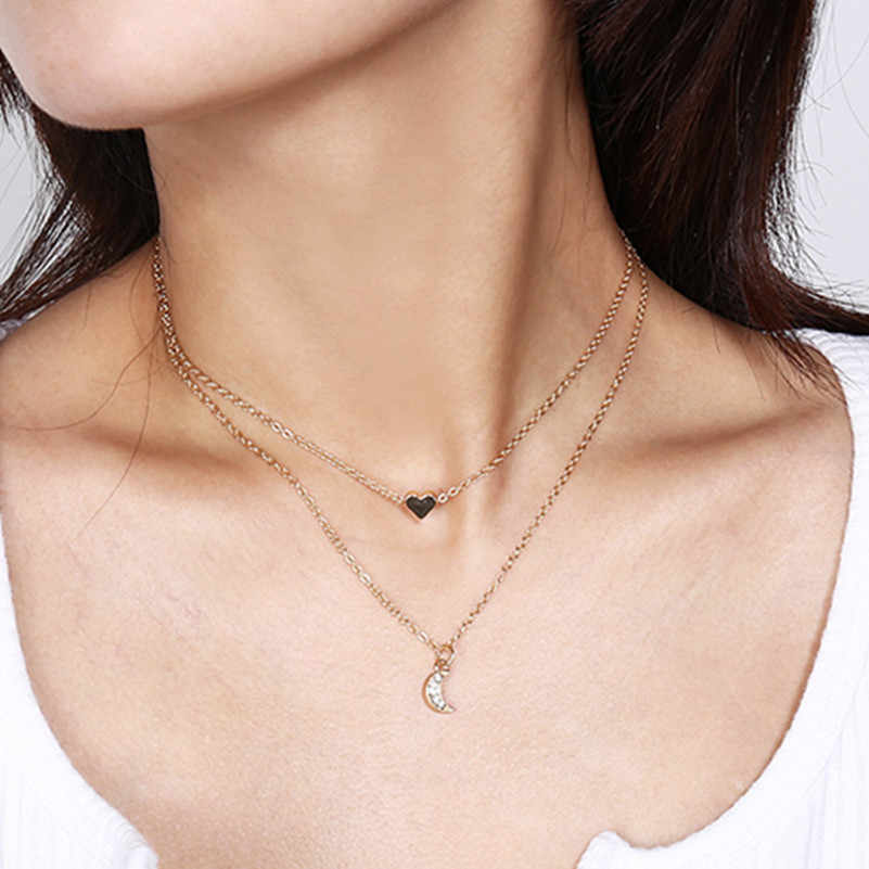 Европа и Америка простой street shot Дикий Медь сердце полный кристалл кулон с полумесяцем женский многослойное ожерелье ювелирные изделия