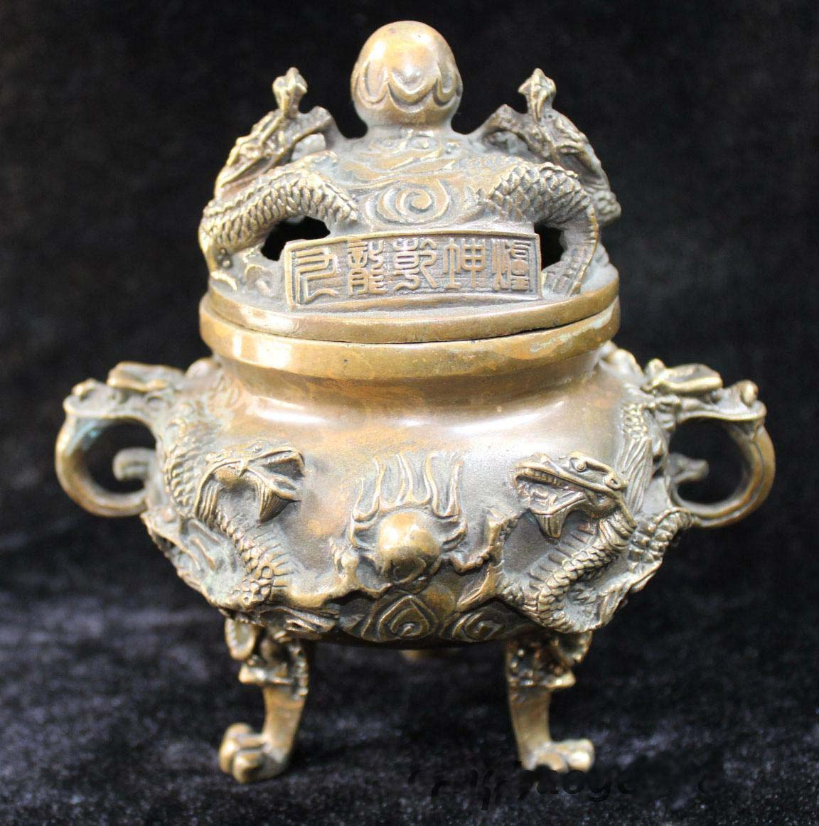 "7/"" Chinese Brass Gilt 9 Dragon Incense Burner Censer Incensory Burner Statue"