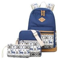 3 Piece / Set Backpack+Crossbody Bag+Purse ,Shoulder Bag Multiple Color Casual Backpack Canvas Bag Student Bag Fashion Wind Sho