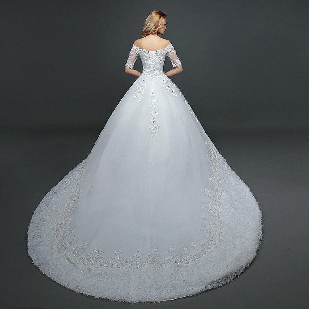 Nueva Moda Princesa vestido de Novia largo blanco Vintage de encaje ...