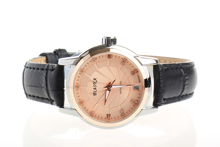 Women Fashion Crystals Dress Watches Automatic Calendar Analog Clock Leather Business Wristwatch Back Transparent Relojes NW3138 classic fashion business designer men dress watches imported quartz calendar analog clock waterproof real leather relojes nw4233