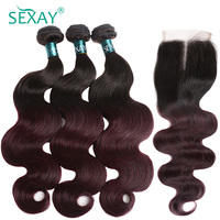 Sexay Professional Burgundy Human Hair 4 Bundles Pack With Closure Brazilian Body Wave Ombre 1B/ 99J Wine Red Human Hair Weave
