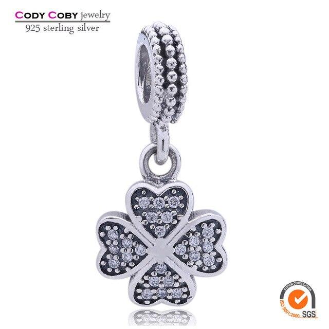 1 pcs trevo de quatro folhas dangle charme 925 sterling silver heart beads fit pandora original pulseira para pulseira jóias