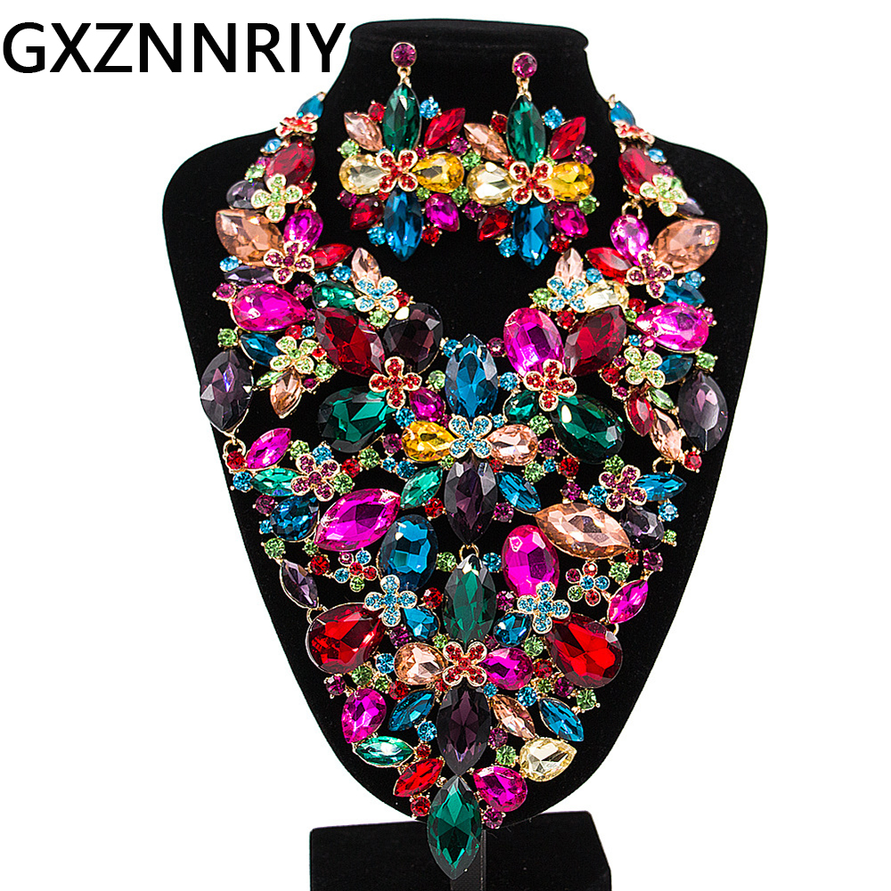 Flower Bridal Jewelry Sets for Women Crystal Rhinestone Wedding Prom Big Necklace and Earrings Set Female Party Jewellery Sets