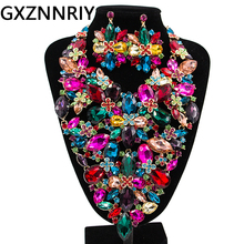 Flower Bridal Jewelry Sets for Women Crystal Rhinestone Wedding Prom Big Necklace and Earrings Set Female Party Jewellery Sets bridal jewelry sets for women ab color crystal flower 12 style gold wedding necklace earrings set female party prom jewelry sets