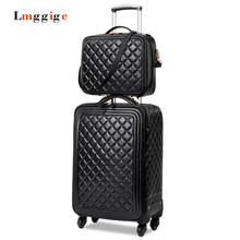 Universal wheels Suitcase bag,Women Luggage set,High quality PU leather Carry-Ons,Grid pattern Carrier,Trolley case,drag box