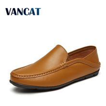 VANCAT Big Size 38~46 Men Shoes Leather 2018 New Full Grain leather Handmade Soft Comforable Leather Men Loafers Driving shoes