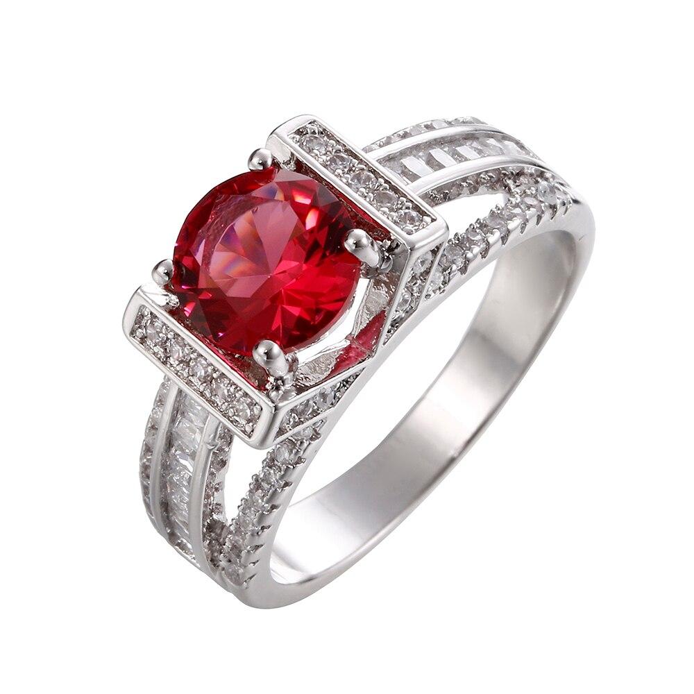 Круглый CZ Кольцо для Для женщин Обручение Jewelry Юбилей подарок серебро и золото Цвет Цвета кристалл свадебной моды обещает кольца
