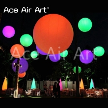 Giant bright Customised Party hanging white bulb white cloth  Inflatable Zygote interactive rowed colorful LED balls