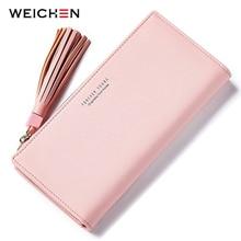 WEICHEN Many Departments Tassel Women Wallets Brand Long Pink Clutch Wallet Female Fashion Ladies Purses Cell