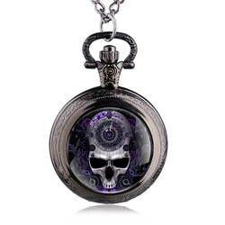 Для Мужчин's Винтаж стимпанк черепа карманные часы Цепочки и ожерелья под старину кварц Подвеска цепи Для мужчин Для женщин подарок