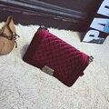 Luxury Brand Handbag Winter Velvet Diamond Lattice Chain Bag Women Messenger Bags Female Small Crossbody Shoulder Bags 8859