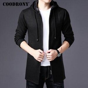 Image 4 - COODRONY セーター男性服 2019 冬厚く暖かいロングカーディガンの男性セーターコットンライナージッパーコート h004