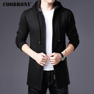 Image 4 - COODRONY Sweater Men Clothes 2019 Winter Thick Warm Long Cardigan Men With Hood Sweater Coat With Cotton Liner Zipper Coats H004