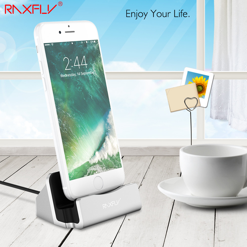 RAXFLY USB Charger Dock For iPhone 6 6S Plus 5 5S SE For iPhone 7 Plus Desktop Phone Charging Holder Stand Station For iPad Mini