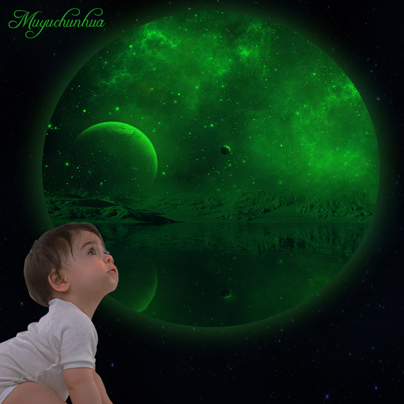 Muyuchunhua Luminous Wallsticker for Kids Room Decor Stickers Moon Glow In The Dark Wall Decals Removable Vinyl Mural Home Decor