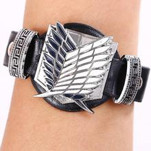 Cosplay Attack on Titan black bracelets fashion anime Punk bangles fashion gifts