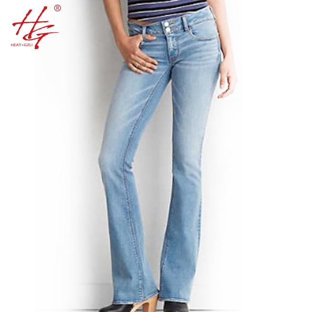C12 2016 gran tamaño flare jeans mujer otoño parte inferior de campana pantalones femeninos luz pantalones de mezclilla azul HG marca mediados de talle de los pantalones vaqueros femme