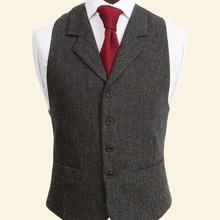 Винтажные черные шерстяные твидовые жилеты, тонкие мужские костюмы, жилеты на заказ, костюм без рукавов, пиджак, мужской свадебный жилет, Мужская одежда, жилет