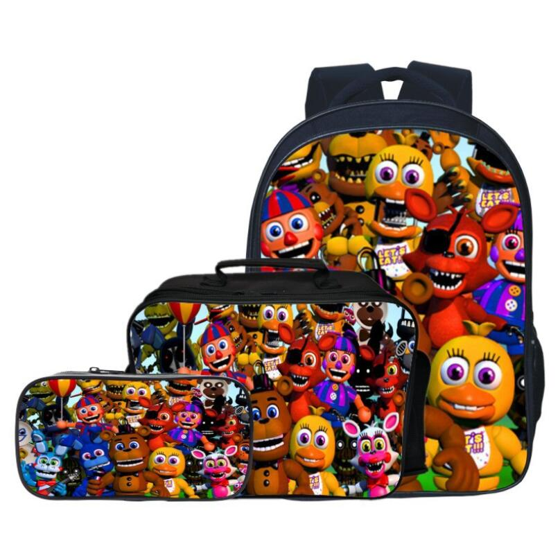 3 pièces/ensemble mode Cartoon cinq nuit à Freddy enfants sacs à dos étudiant costume sac enfants bébé sacs d'école garçons cartable pour les filles