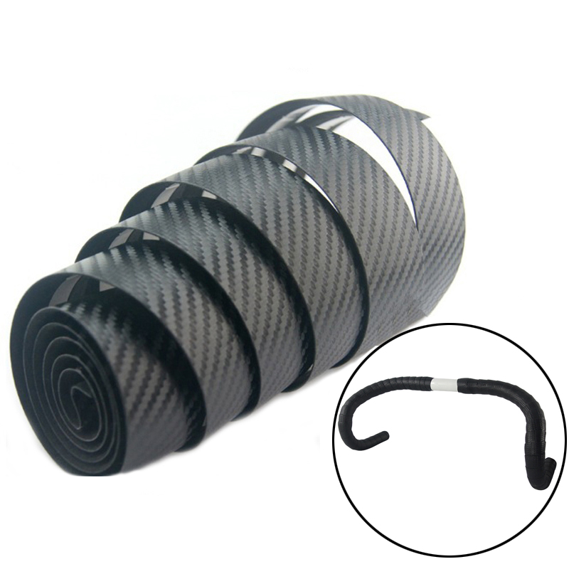 Road Bike Handlebar Tape Carbon Fiber Stripe Guidoline Race Bike Bar Tape Cycling Bicycle Bars Grips Waterproof PU Tape Wrap