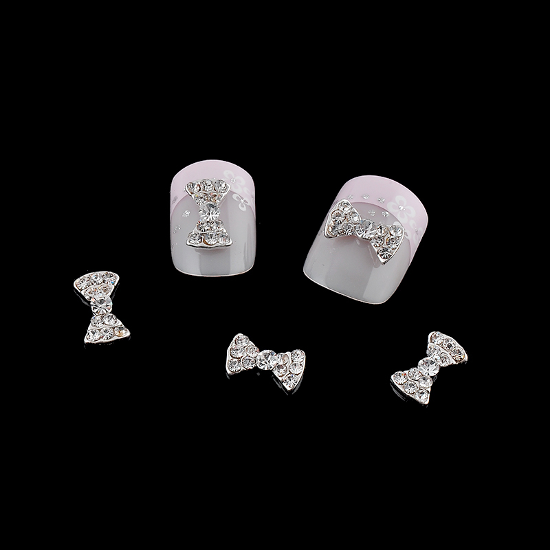 DIY 10pcs/pack 3d Nail Charms Glitter Clear Rhinestones Bow Ties Alloy Nail Art Decorations Tools Free Shipping 10pcs pack glitter green rhinestones nail art decorations alloy 3d nail jewelry charms nails tools free shipping