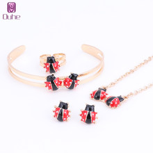 Fashion Girl Jewelry Lovely Ladybug Children Necklace Bangle Earring Ring Kids Baby Costume Jewelry Set 5 Colors(China)