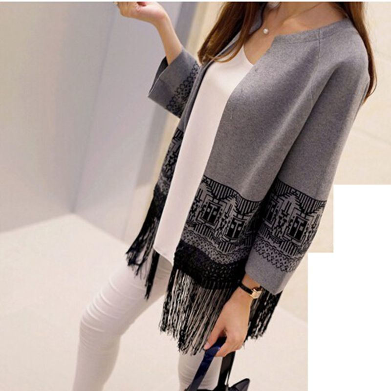 dfe83ed16a Latest Autumn Fashion Women Sweater Round neck Long sleeve Loose Shawl  Sweater Elegant tassel Cardigan Women Slim Coat G2089-in Cardigans from  Women s ...